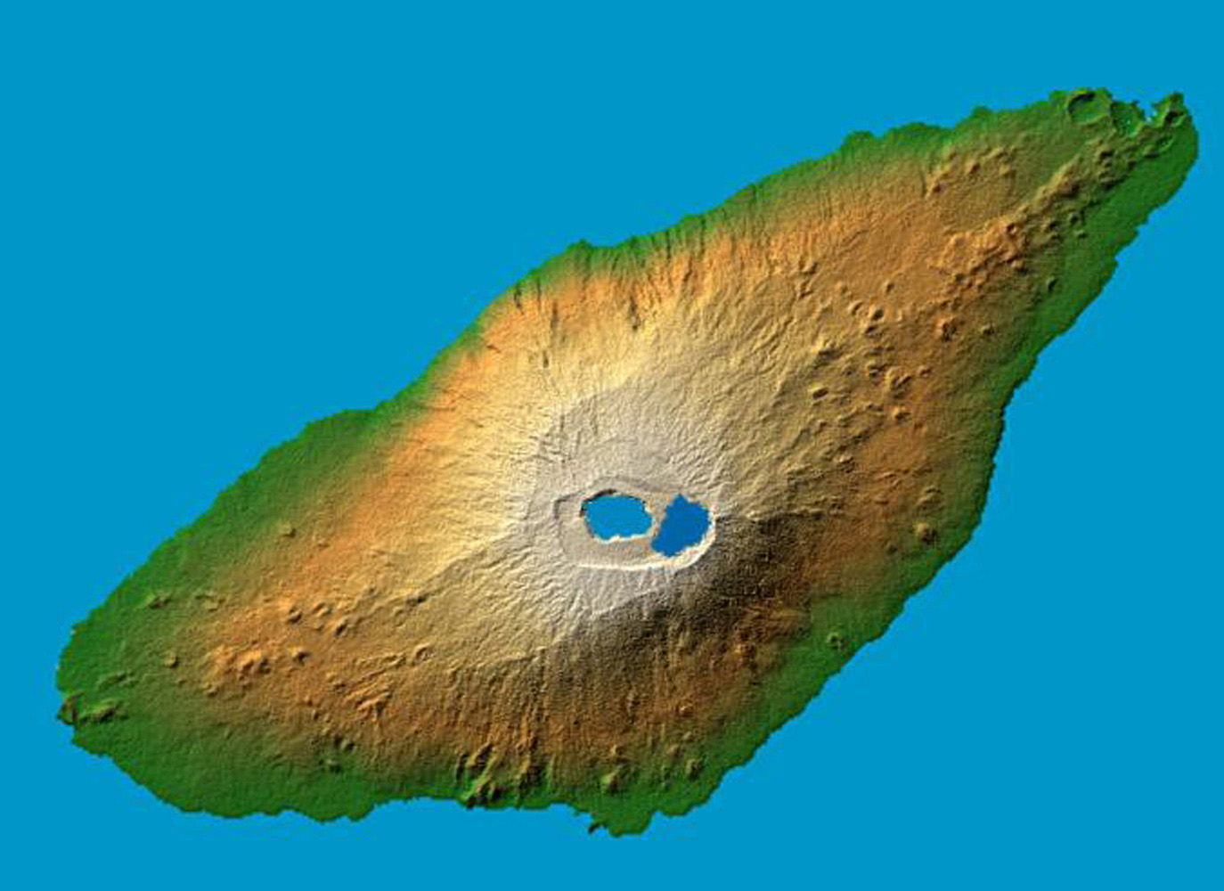 The recently active volcano Mt. Manaro is the dominant feature in this shaded relief image from NASA's Shuttle Radar Topography Mission of Ambae Island, part of the Vanuatu archipelago located 1400 miles northeast of Sydney, Australia.