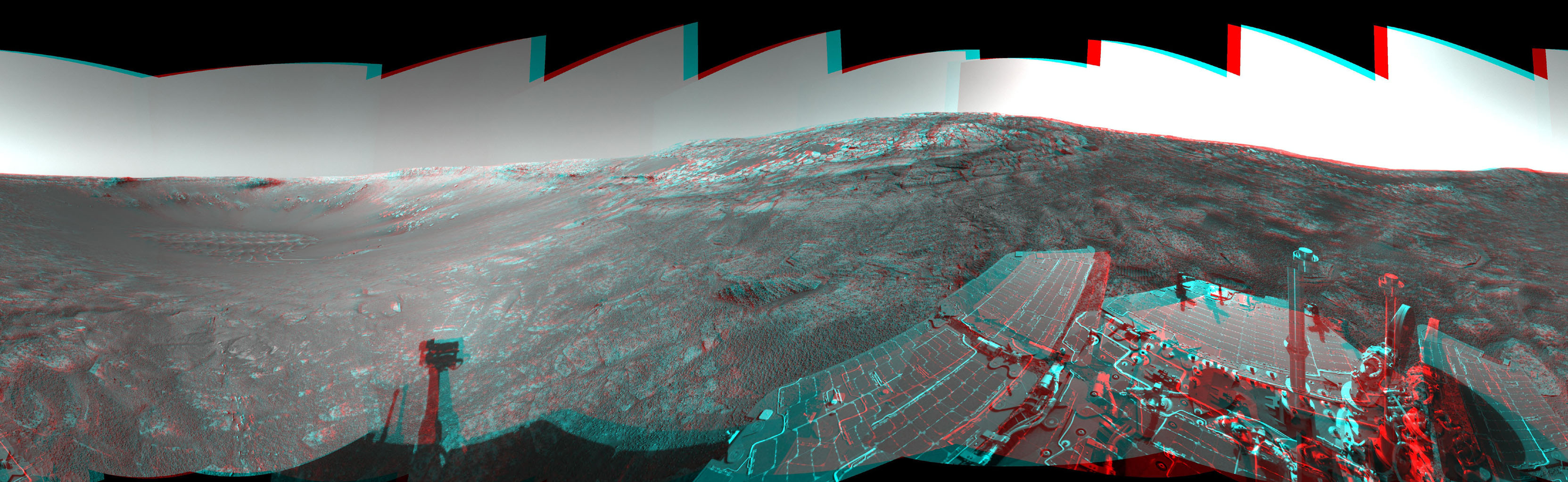 This 360-degree stereo anaglyph of the terrain surrounding NASA's Mars Exploration Rover Opportunity was taken on the rover's 171st sol on Mars. Opportunity had driven 11 meters (36 feet) into 'Endurance Crater.' 3D glasses are necessary.