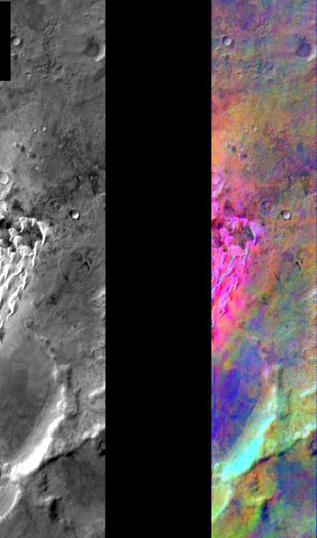 This image released on July 28, 2004 from NASA's 2001 Mars Odyssey shows a decorrelation stretch near Kaiser Crater. Pink/magenta colors usually represent basaltic dunes, cyan indicates the presence of water ice clouds, while green can represent dust.