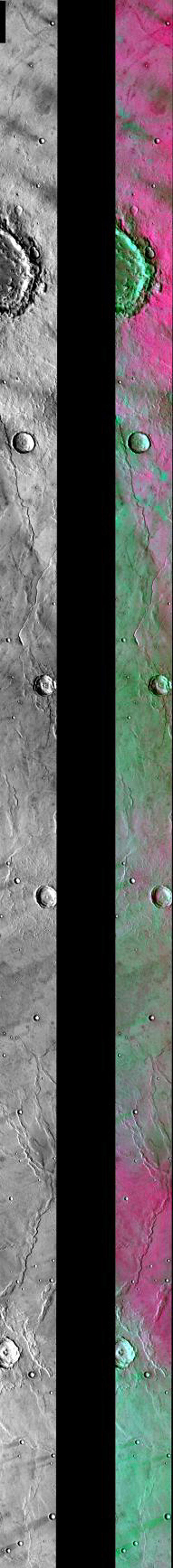 This image released on August 2, 2004 from NASA's 2001 Mars Odyssey shows a decorrelation stretch near Syrtis Major. Pink/magenta colors usually represent basaltic dunes, cyan indicates the presence of water ice clouds, while green can represent dust.