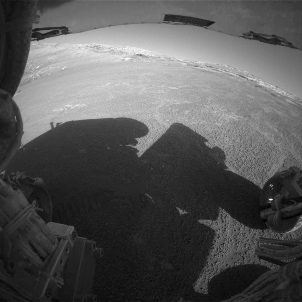 This image from the front hazard-avoidance camera on NASA's Mars Exploration Rover Opportunity shows a side view of 'Endurance Crater.' Opportunity took the image on Aug. 4, 2004.