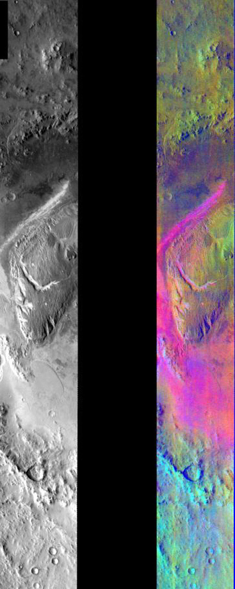 This image released on August 4, 2004 from NASA's 2001 Mars Odyssey shows a decorrelation stretch in Gale Crater. Pink/magenta colors usually represent basaltic dunes, cyan indicates the presence of water ice clouds, while green can represent dust.
