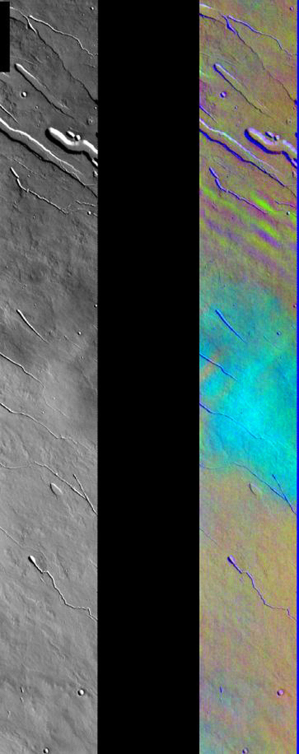 This image released on August 9, 2004 from NASA's 2001 Mars Odyssey shows a decorrelation stretch of the Elysium region. Pink/magenta colors usually represent basaltic dunes, cyan indicates the presence of water ice clouds, while green can represent dust.