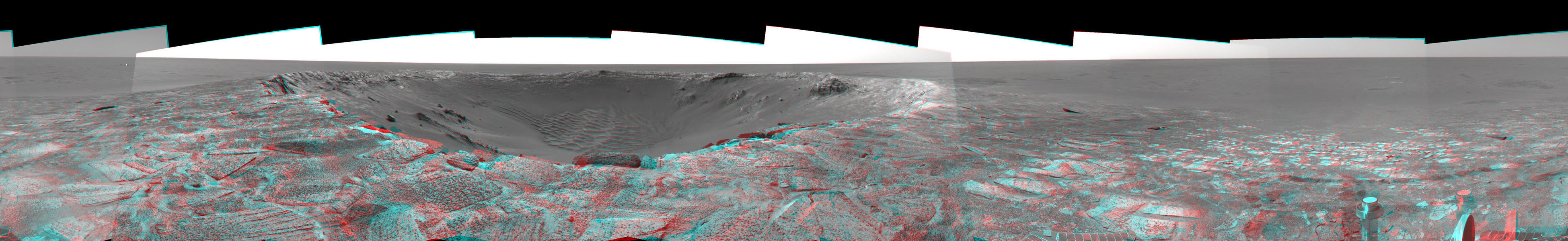 This 3D mosaic, created from images taken by NASA's Mars Exploration Rover Opportunity on sols 115 and 116 (May 21 and 22, 2004) provides a dramatic view of 'Endurance Crater.' 3D glasses are necessary to view this image.