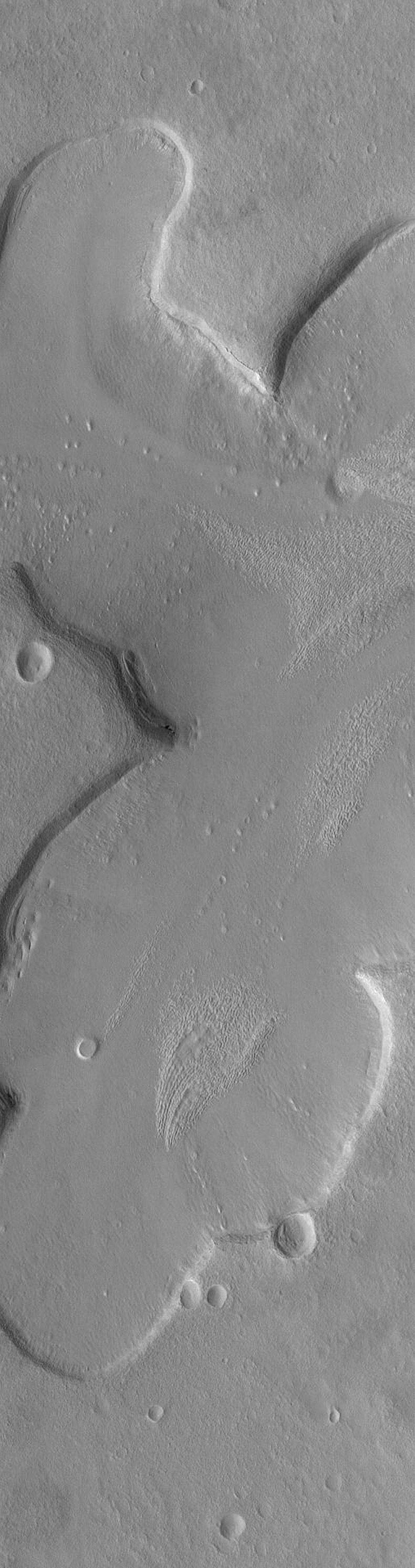 NASA's Mars Global Surveyor shows shallow tributary valleys in the Ismenius Lacus fretted terrain region of Mars. These valleys exhibit a variety of typical fretted terrain valley wall and floor textures, and a lineated, pitted material.