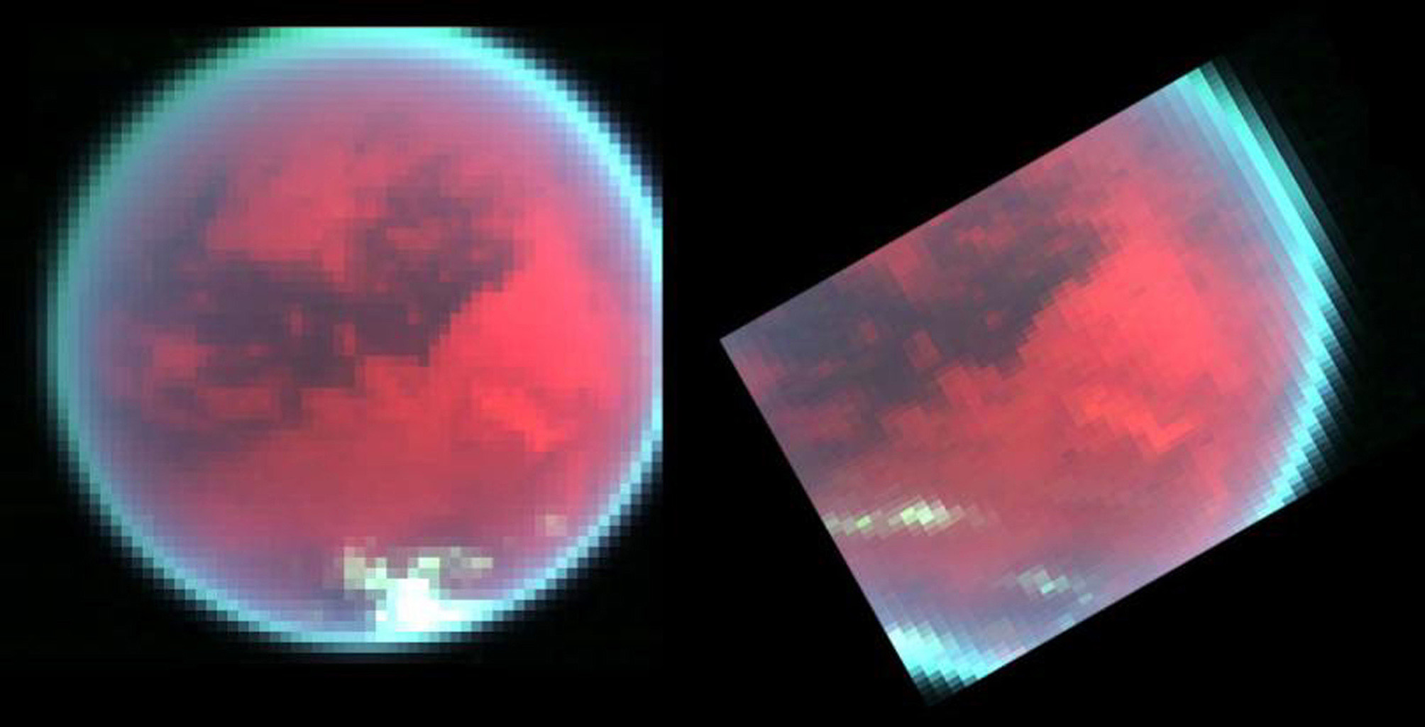 Evidence of changing weather patterns in the skies over Titan's southern region are revealed in these false color images obtained by NASA's Cassini spacecraft's visual infrared mapping spectrometer.