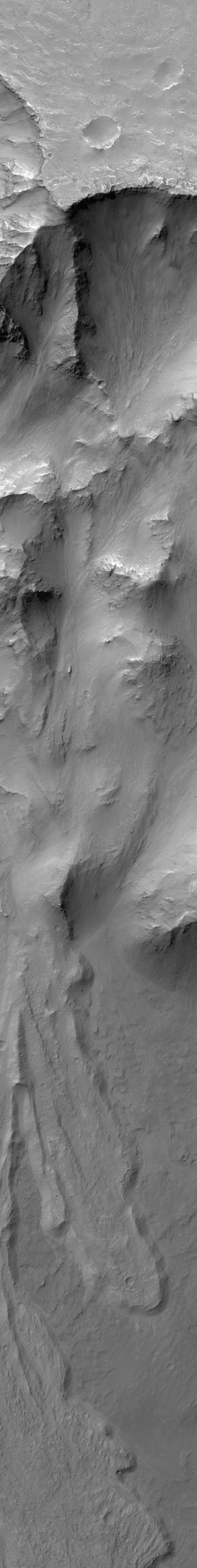 NASA's Mars Global Surveyor shows part of a large landslide complex off the north wall of Coprates Chasma in the Valles Marineris trough complex on Mars.