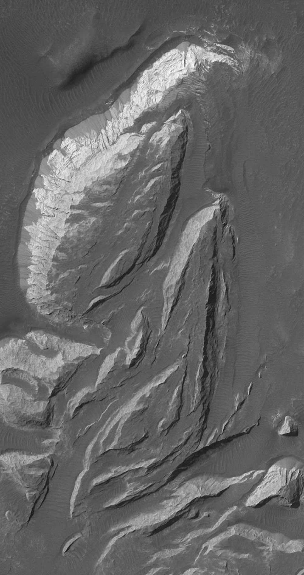 NASA's Mars Global Surveyor shows light-toned, sedimentary rock outcrops in the Aureum Chaos region of Mars. On the brightest and steepest slope in this scene, dry talus shed from the outcrop has formed a series of dark fans along its base.