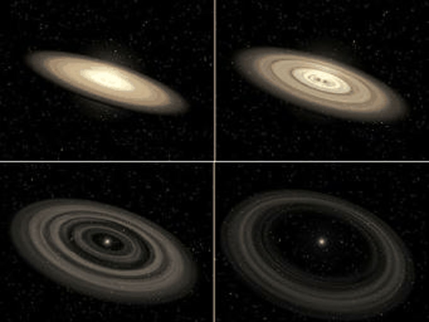 Bright, young disks can be imaged directly by visible-light telescopes, such as NASA's Hubble Space Telescope. Older, fainter debris disks can be detected only by infrared telescopes like NASA's Spitzer Space Telescope, which sense the disks' dim heat.