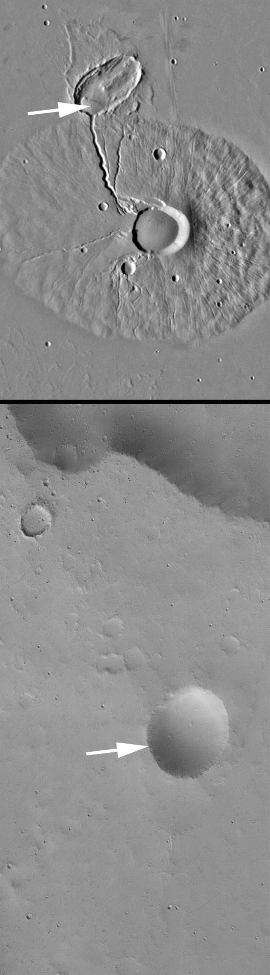 NASA's Mars Global Surveyor shows Ceraunius Tholus, a volcano in the Tharsis region on Mars. Several channels run down the slope of the Ceraunius Tholus volcano. The deepest of those channels ends in an elliptical crater.