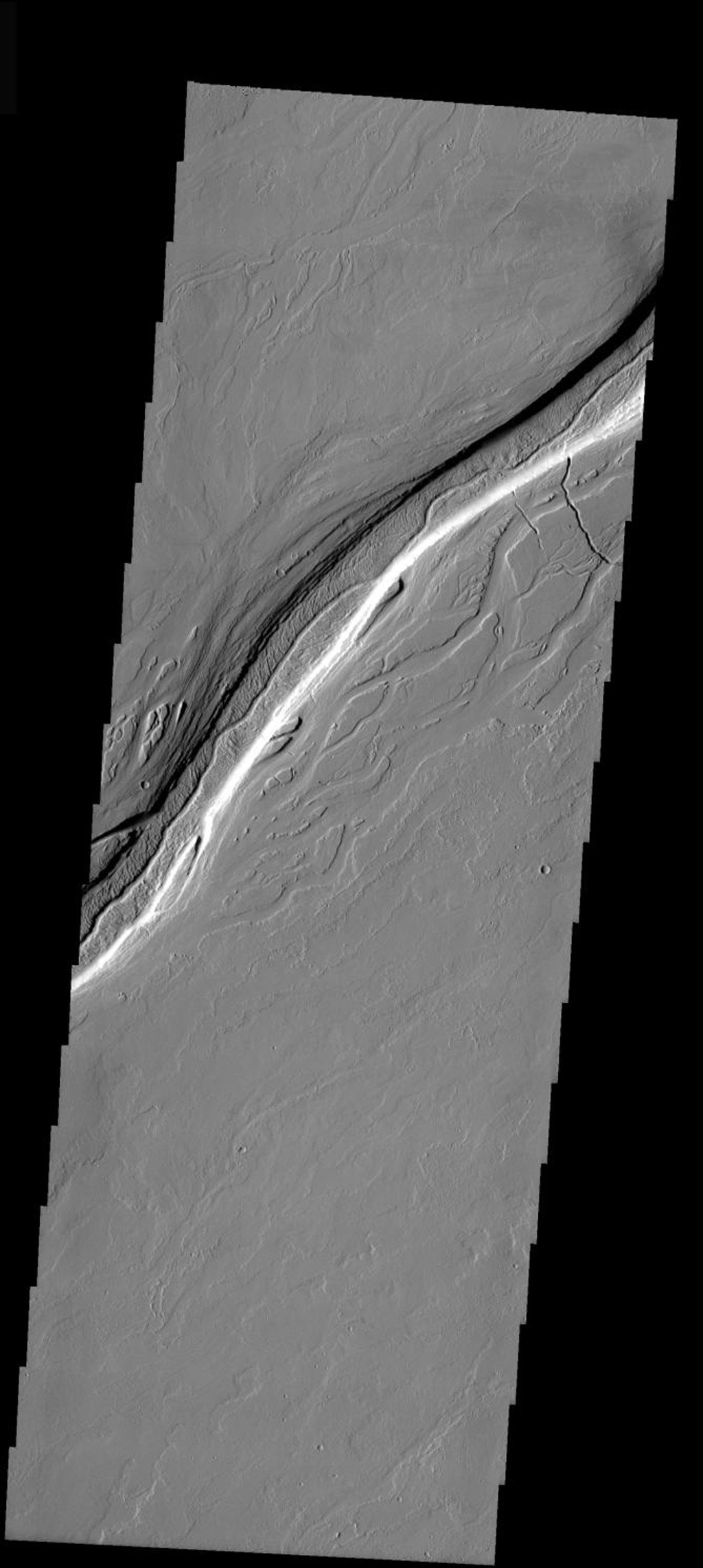 This image released on Dec 1, 2004 from NASA's 2001 Mars Odyssey shows Olympica Fossae. Located between Olympus Mons and Alba Patera on Mars, this entire region is comprised of volcanic flows. All the channels were created by volcanic activity.