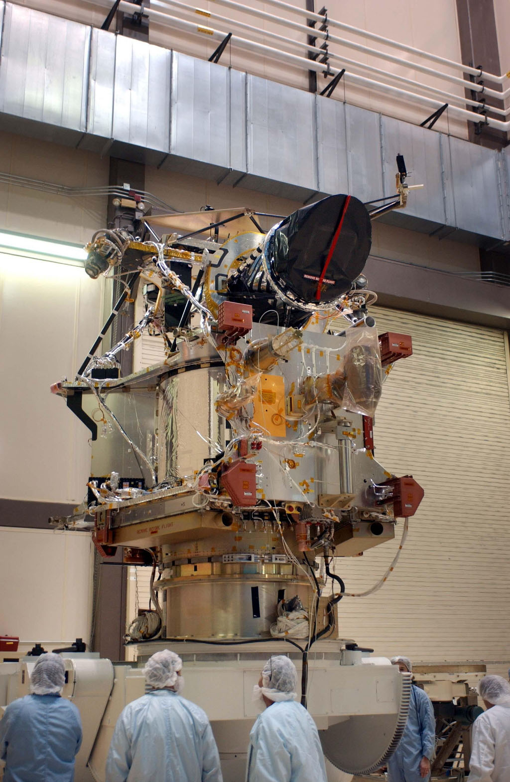 A telescopic camera called the High Resolution Imaging Science Experiment, or HiRISE, was installed onto the main structure of NASA's Mars Reconnaissance Orbiter on Dec. 11, 2004 at Lockheed Martin Space Systems, Denver, Colo.