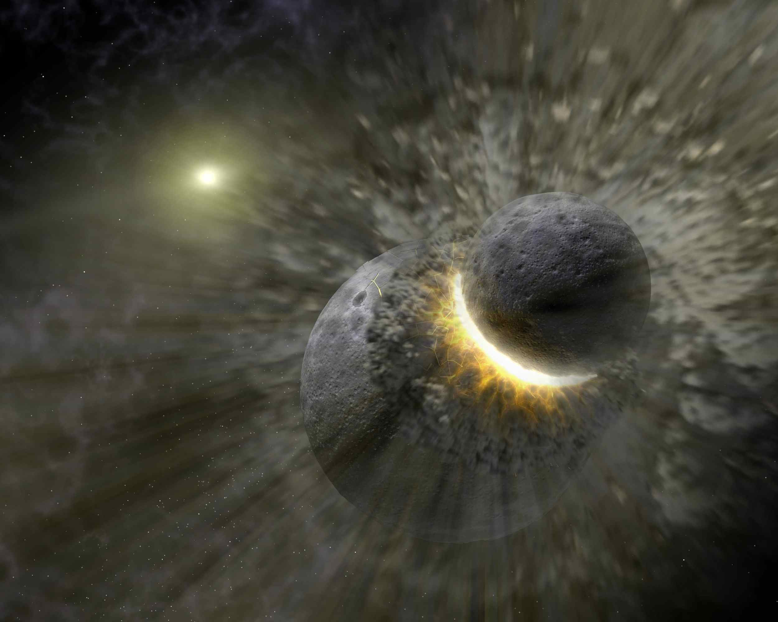 This artist concept illustrates how a massive collision of objects perhaps as large as the planet Pluto smashed together to create the dust ring around the nearby star Vega.