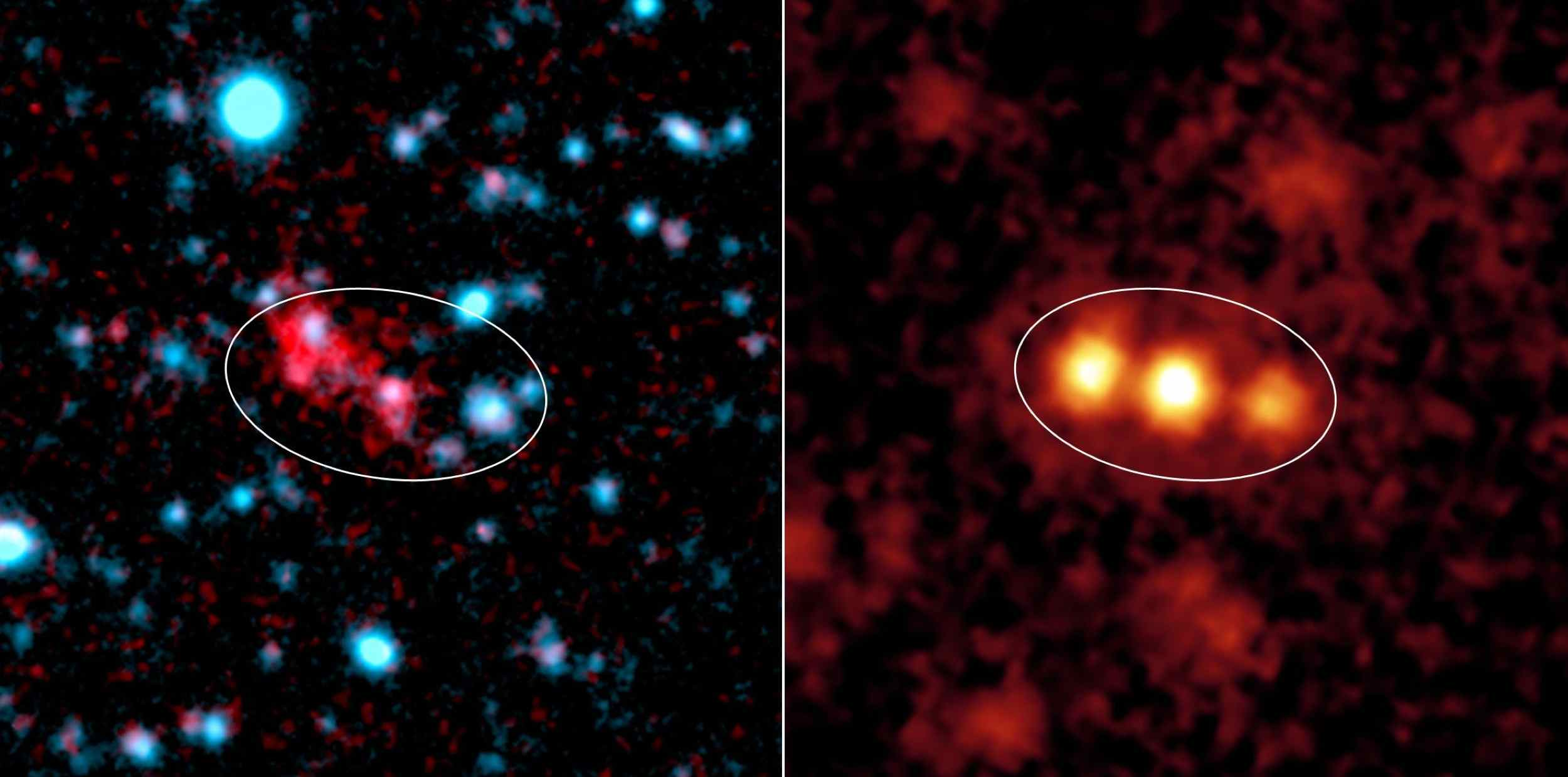 Blobs are intensely glowing clouds of hot hydrogen gas that envelop faraway galaxies. NASA's Spitzer Space Telescope was able to see the dusty galaxies tucked inside one well-known blob located 11 billion light-years away.