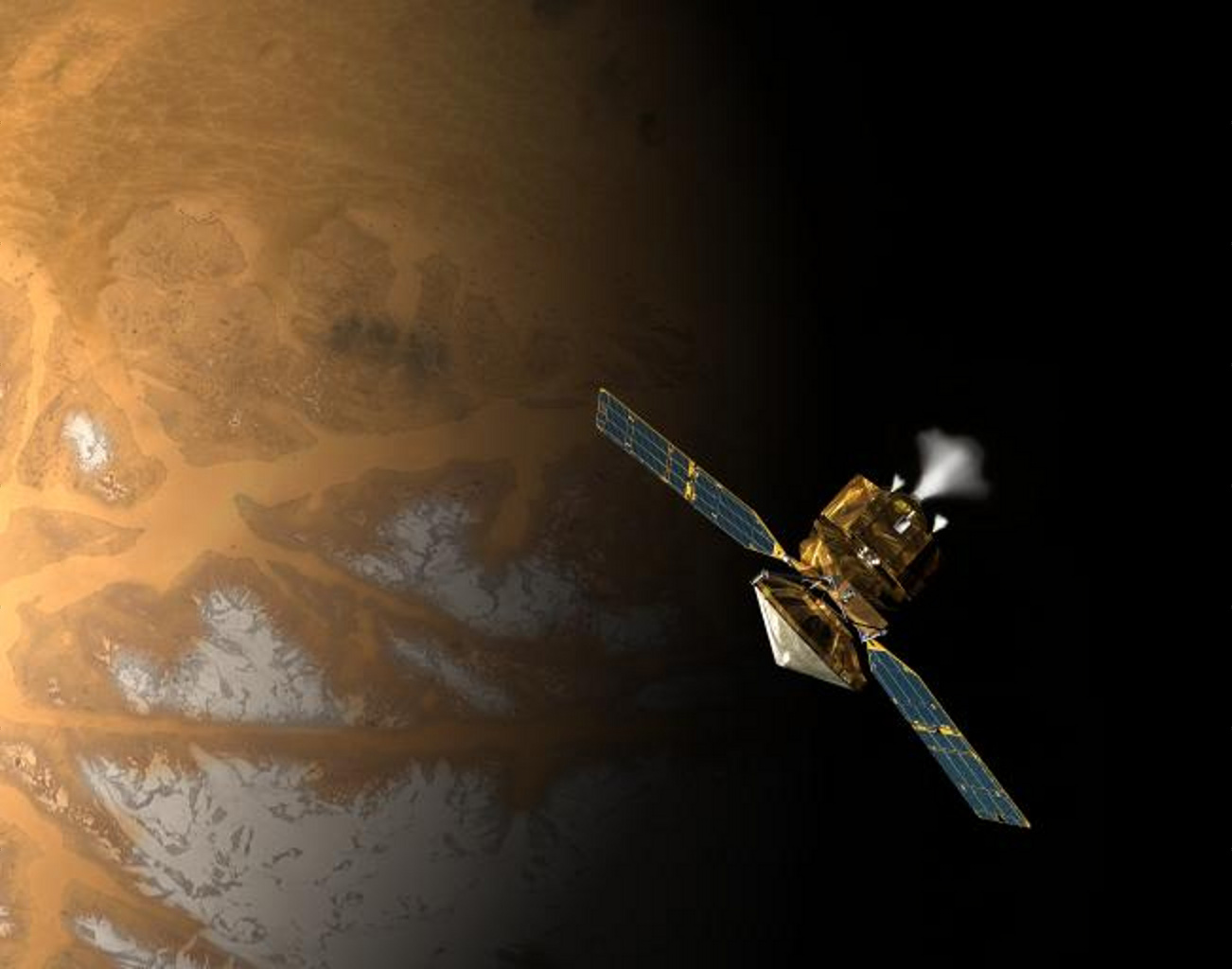This is an artist's concept of NASA's Mars Reconnaissance Orbiter during the critical process of Mars orbit insertion.