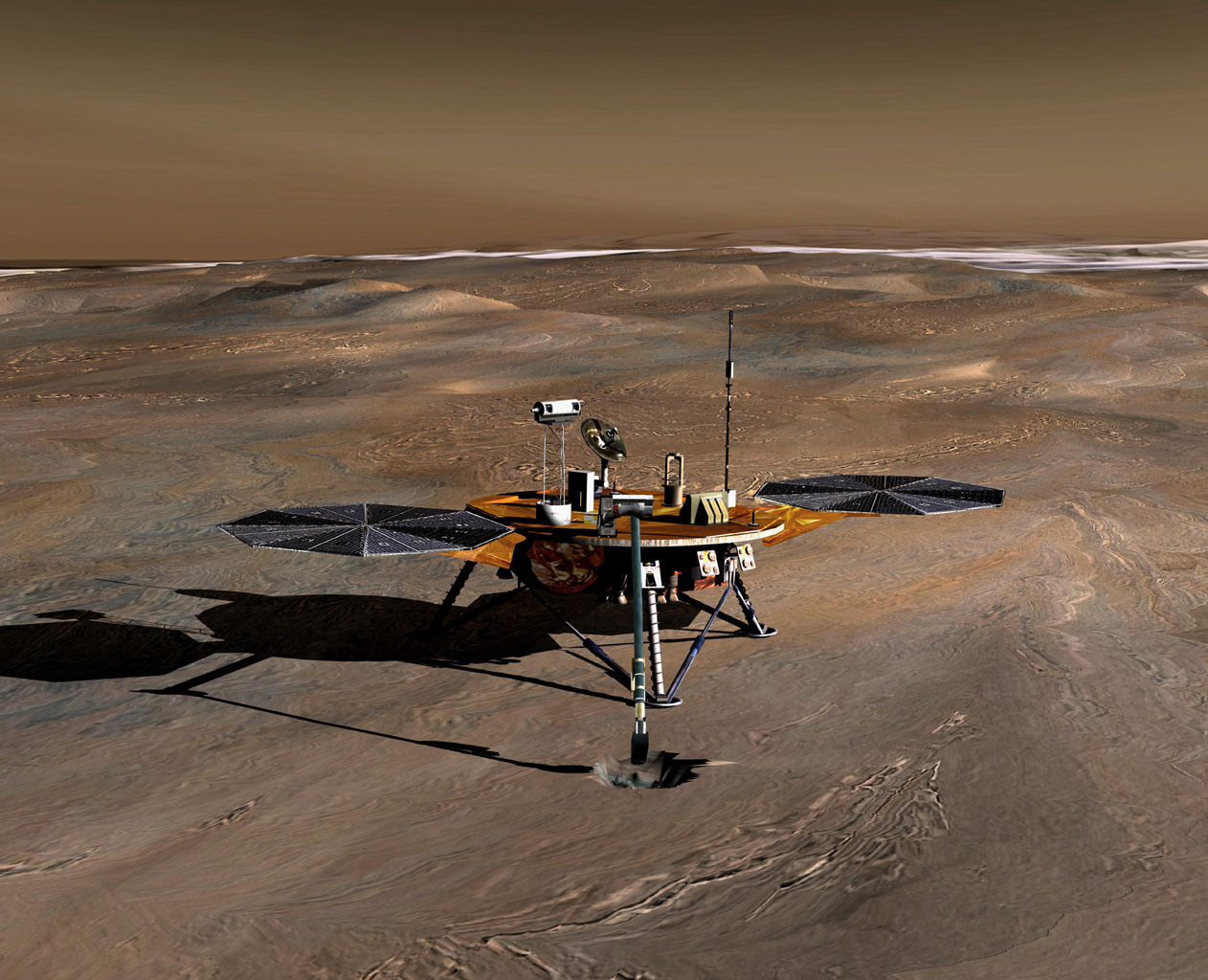 NASA's Phoenix Mars Lander, landed on May 25, 2008, and explored the history of water and monitored polar climate on Mars until communications ended in November, 2008, about six months after landing, when its solar panels ceased operating in the winter.