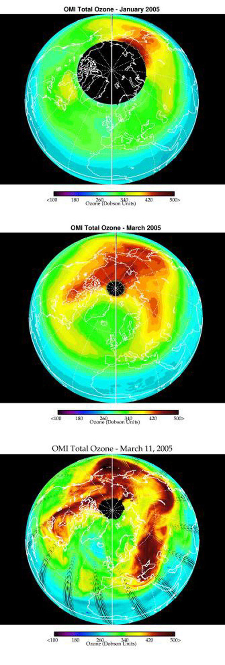 Images from the Ozone Monitoring Instrument onboard NASA's Aura spacecraft shows the average total column ozone during the months of January and March, and the total column ozone on the single day of 11 March, 2005.