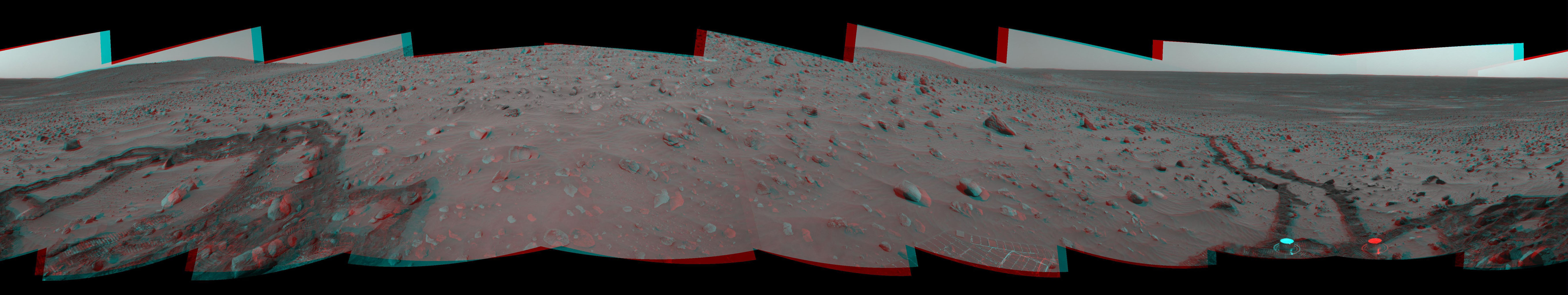 This 360-degree, stereo panorama of a section of the 'Columbia Hills' shows meandering, crisscrossing wheel tracks that NASA's Mars Exploration Rover Spirit left behind. 3D glasses are necessary to view this image.