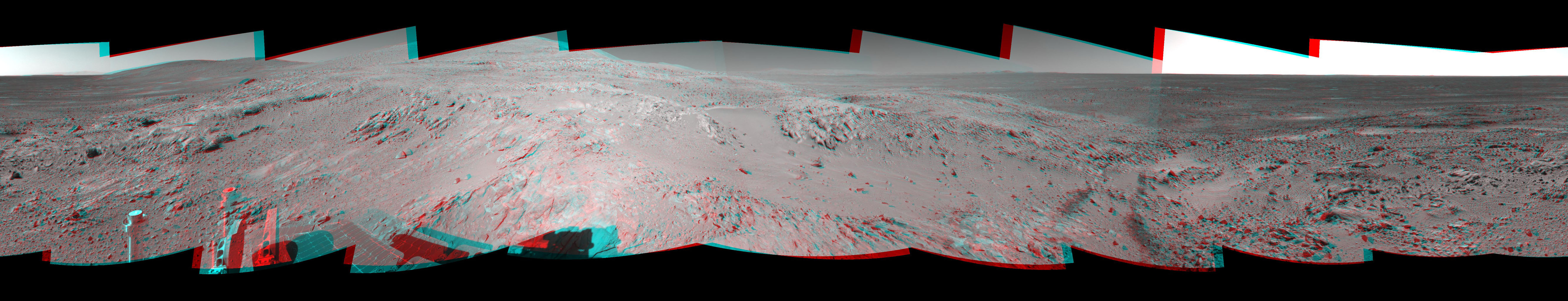 This 360-degree stereo panorama shows the terrain surrounding NASA's Mars Exploration Rover Spirit on Nov. 11, 2004. At that point, Spirit was climbing the 'West Spur' of the 'Columbia Hills.' 3D glasses are necessary to view this image.