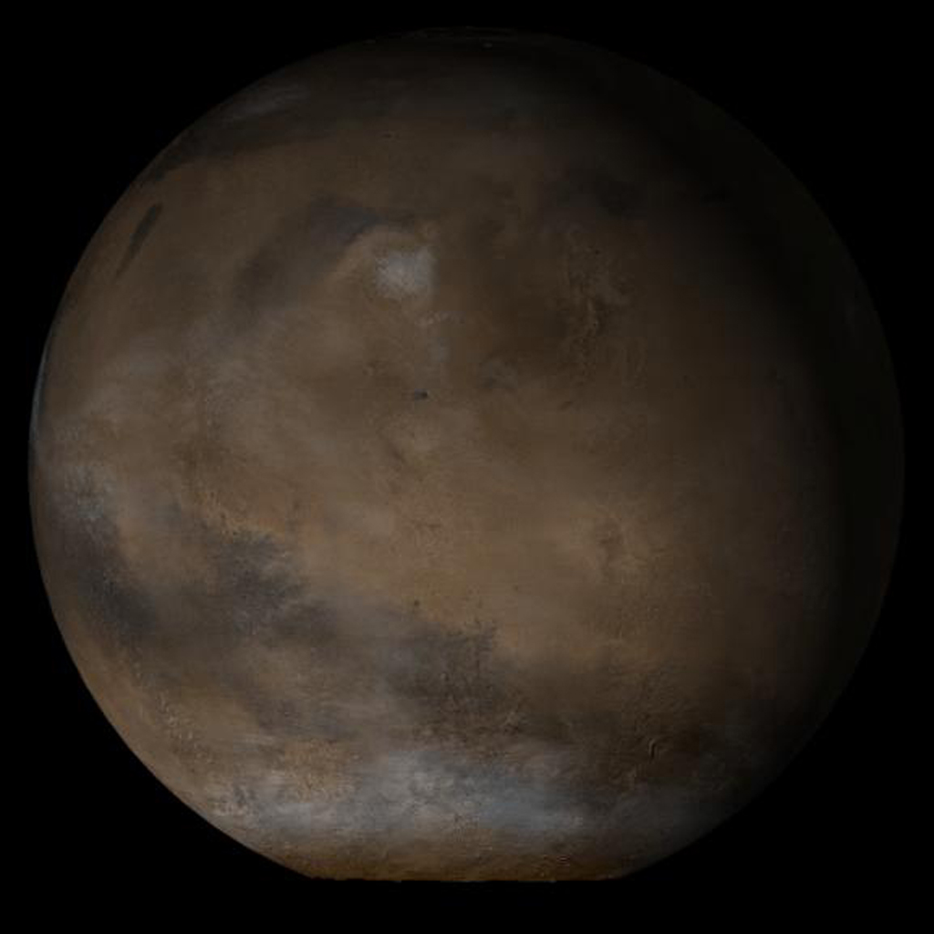 NASA's Mars Global Surveyor shows the Elysium/Mare Cimmerium face of Mars in mid-January 2005.