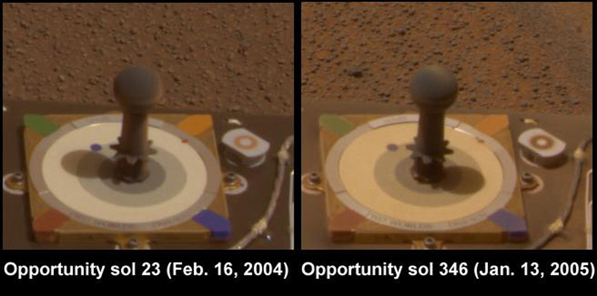 This image from NASA's Mars Exploration Rover Opportunity compares the dust that accumulated on the calibration camera on Feb. 16, 2004 and Jan. 13, 2005. The the surfaces had become only mildly dusty compared to shortly after landing.