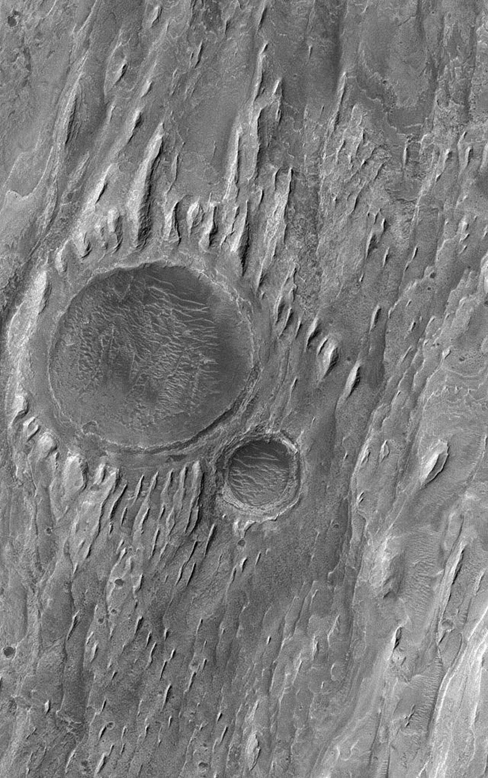 NASA's Mars Global Surveyor shows the remains of two impact craters that were filled, buried, and then exhumed from within layered sedimentary rock in the martian crater, Gale. Wind erosion has sculpted tapered yardang ridges in the uppermost rock layers.