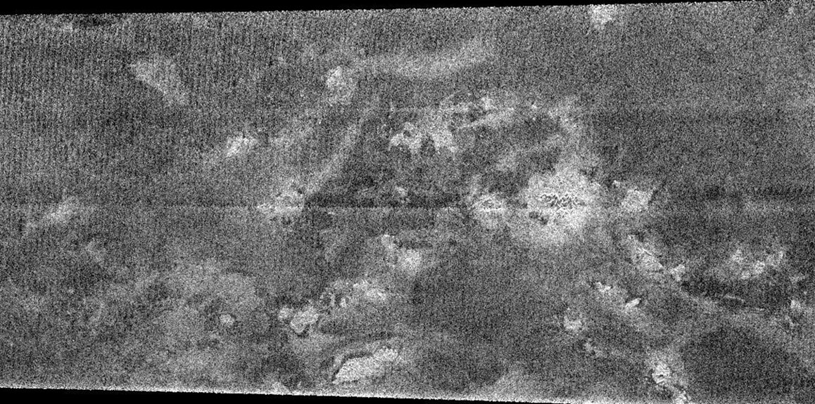 Although most of the region observed by NASA's Cassini radar instrument in the February close flyby of Titan is very different from the regions imaged in October, this image shows a complex of bright hills and ridges surrounded by a dark plain.