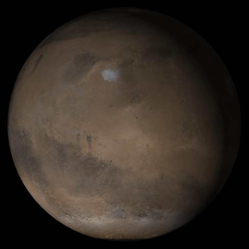NASA's Mars Global Surveyor shows the Elysium/Mare Cimmerium face of Mars in mid-February 2005.