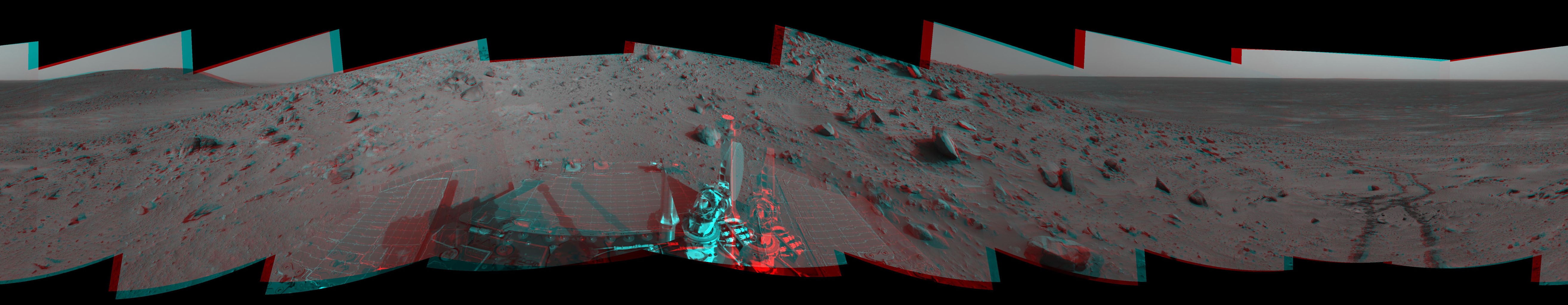 On Feb. 4, 2005, NASA's Mars Exploration Rover Spirit had driven about 13 meters (43 feet) uphill toward 'Cumberland Ridge.' 3-D glasses are necessary to view this image.