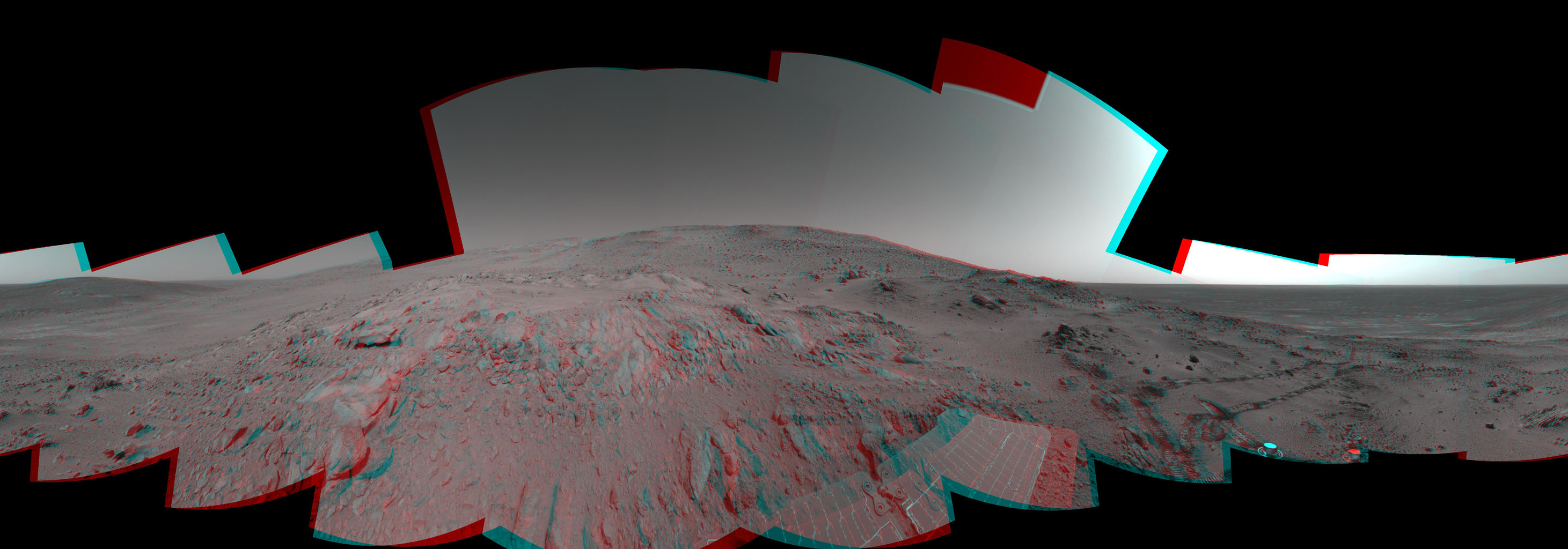 On Feb. 26, 2005, NASA's Mars Exploration Rover Spirit had drive 2 meters (7 feet) on this sol to get in position on 'Cumberland Ridge' for looking into 'Tennessee Valley' to the east. 3-D glasses are necessary to view this image.
