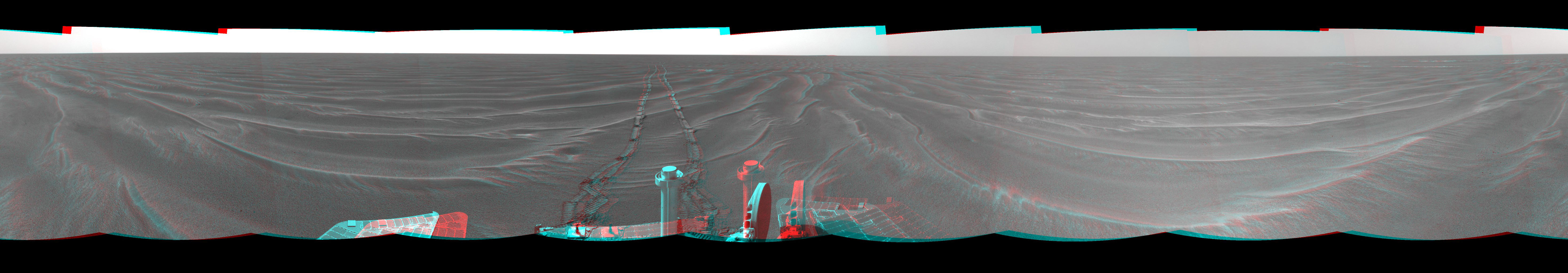 On Mar. 7, 2005, NASA's Mars Exploration Rover Opportunity drove 35 meters (115 feet) toward 'Vostok Crater' that sol before taking images. 3-D glasses are necessary to view this image.
