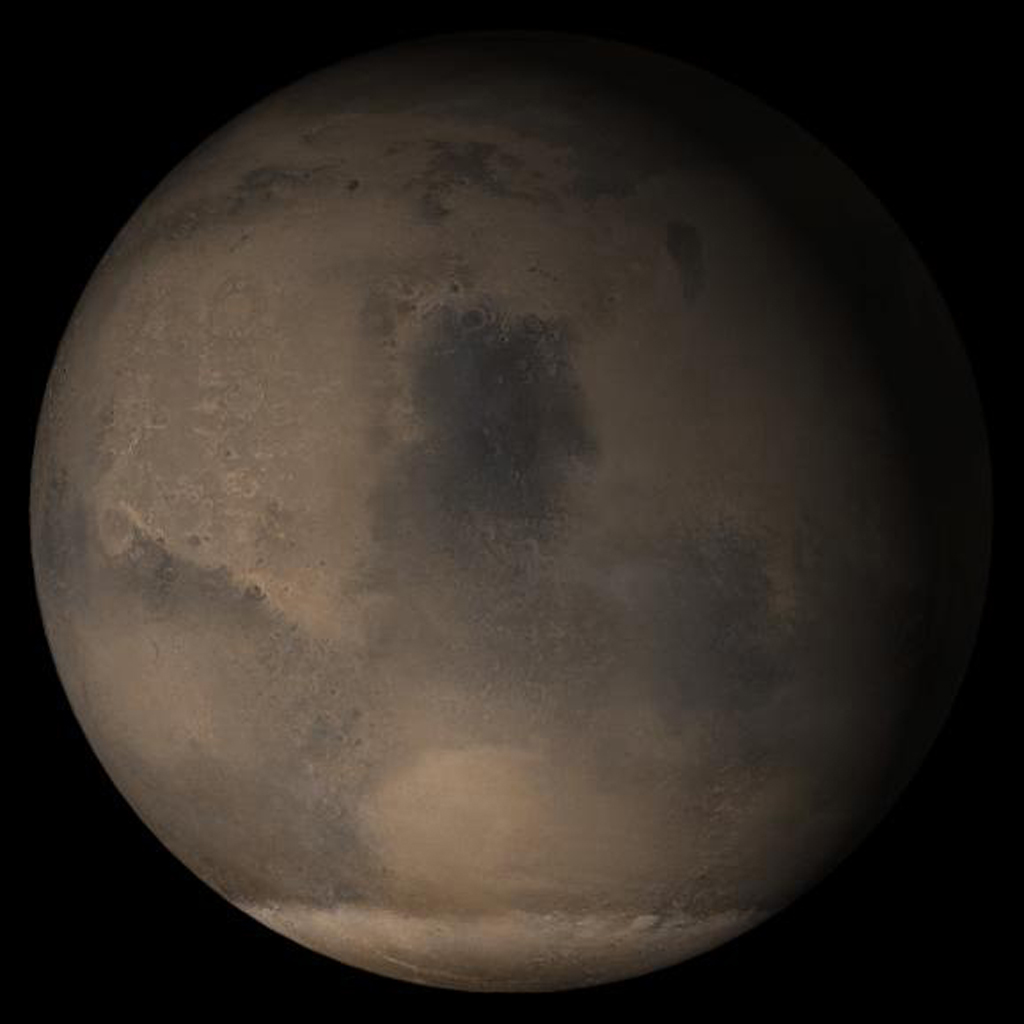 NASA's Mars Global Surveyor shows the Syrtis Major face of Mars in mid-March 2005.