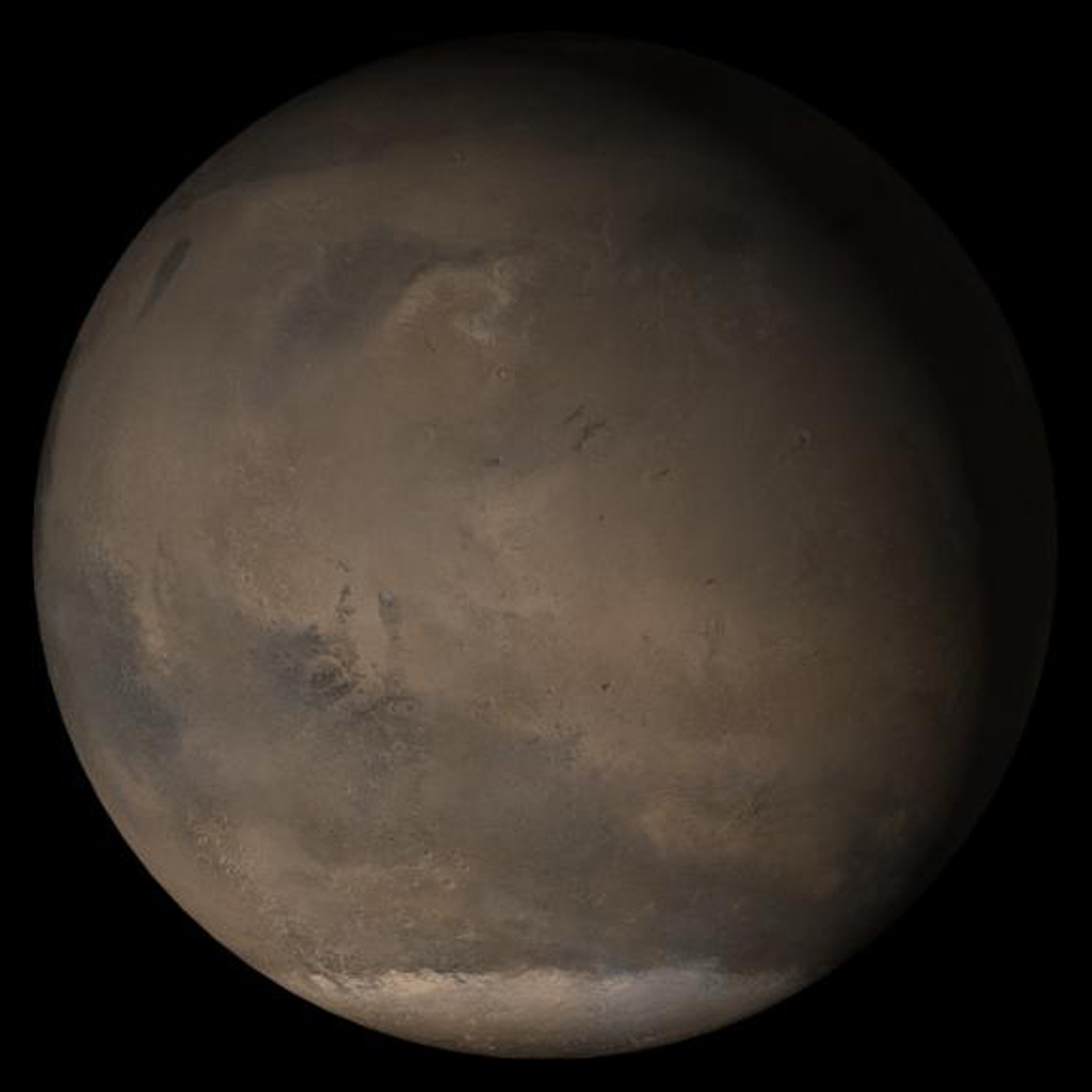 NASA's Mars Global Surveyor shows the Elysium/Mare Cimmerium face of Mars in mid-March 2005.