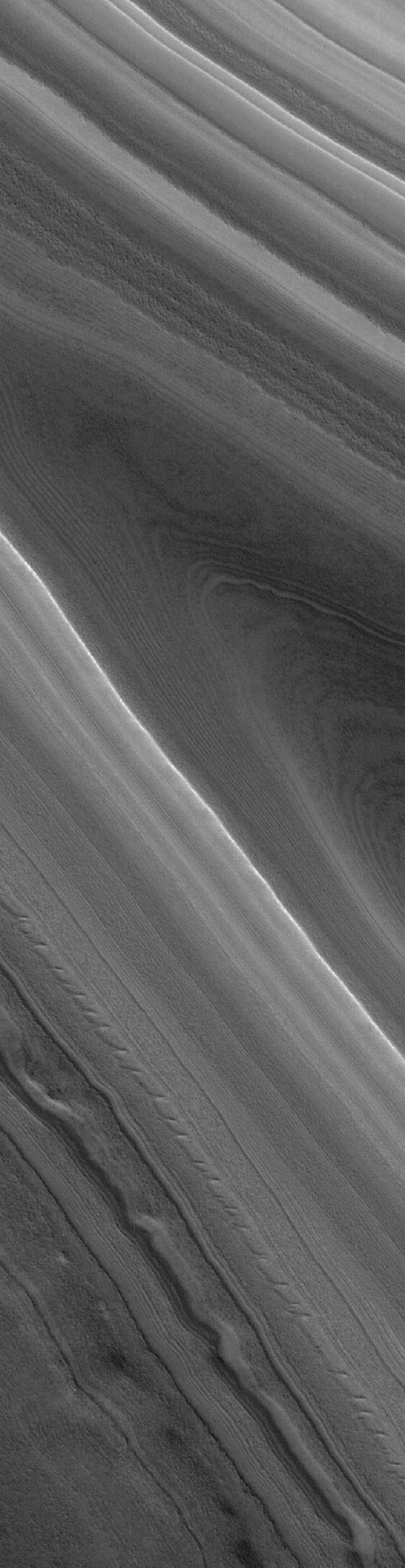 NASA's Mars Global Surveyor shows layered material of the north polar region of Mars.
