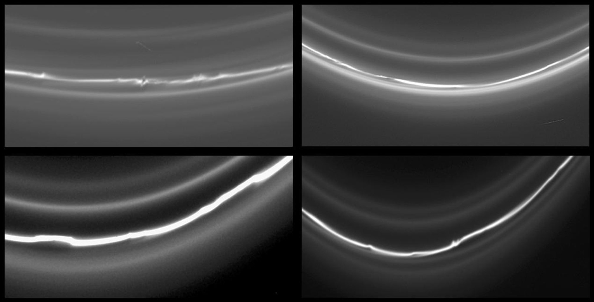 This montage of four images of Saturn's knotted F ring shows different locations around the ring, even though all taken within a few hours of each other. These images were taken in visible light with NASA's Cassini spacecraft's narrow-angle camera.