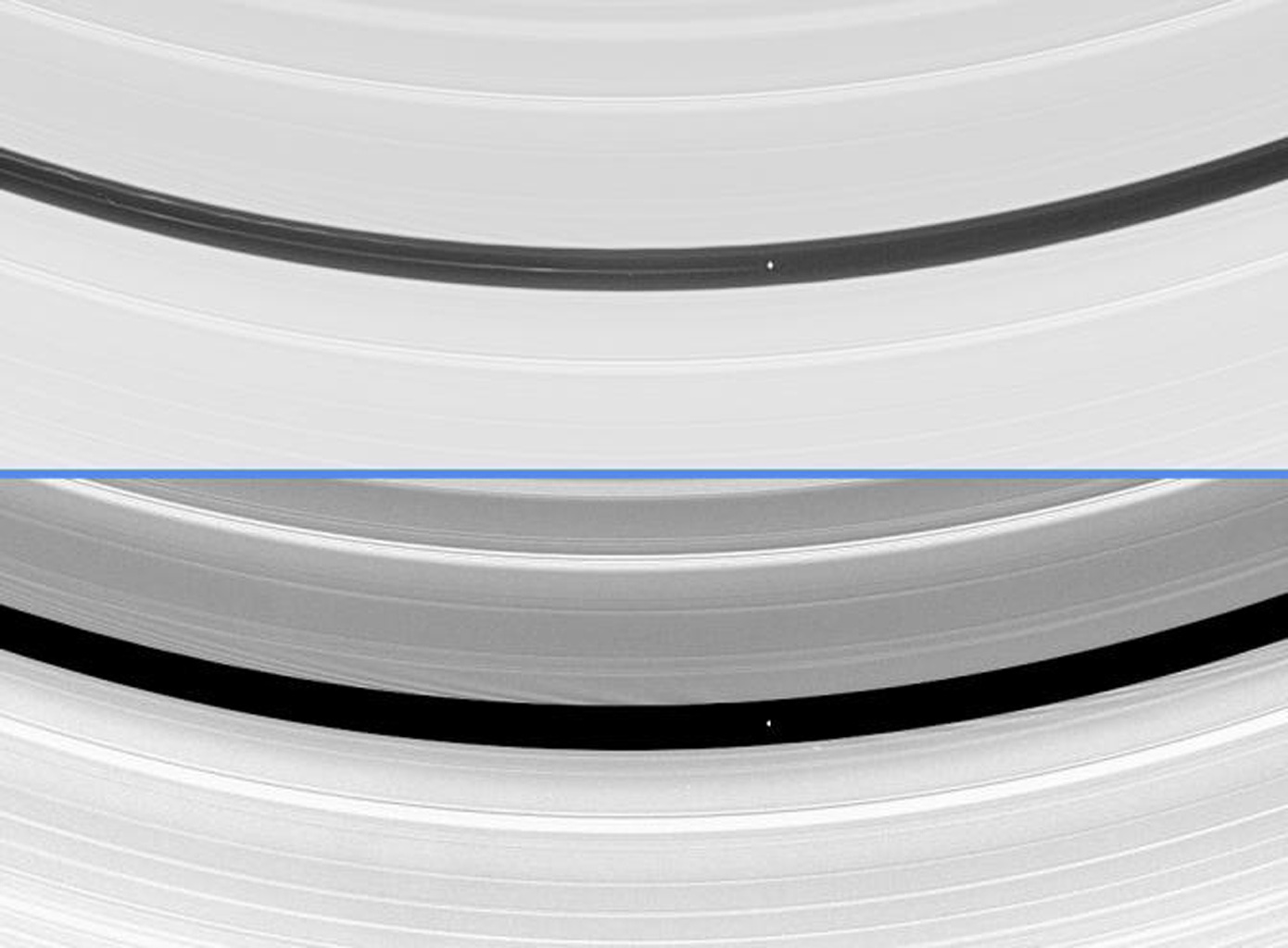 Saturn's moon Pan is seen here orbiting within the Encke Gap in Saturn's A ring in two differently processed versions of the same image from NASA's Cassini spacecraft.