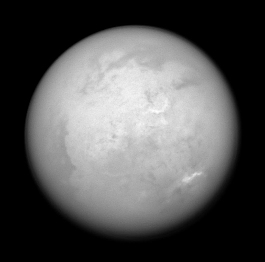 During a recent pass of Saturn's moon Titan, one of more than 40 during NASA's Cassini's planned four-year mission, the spacecraft acquired this infrared view of the bright Xanadu region and the moon's south pole.