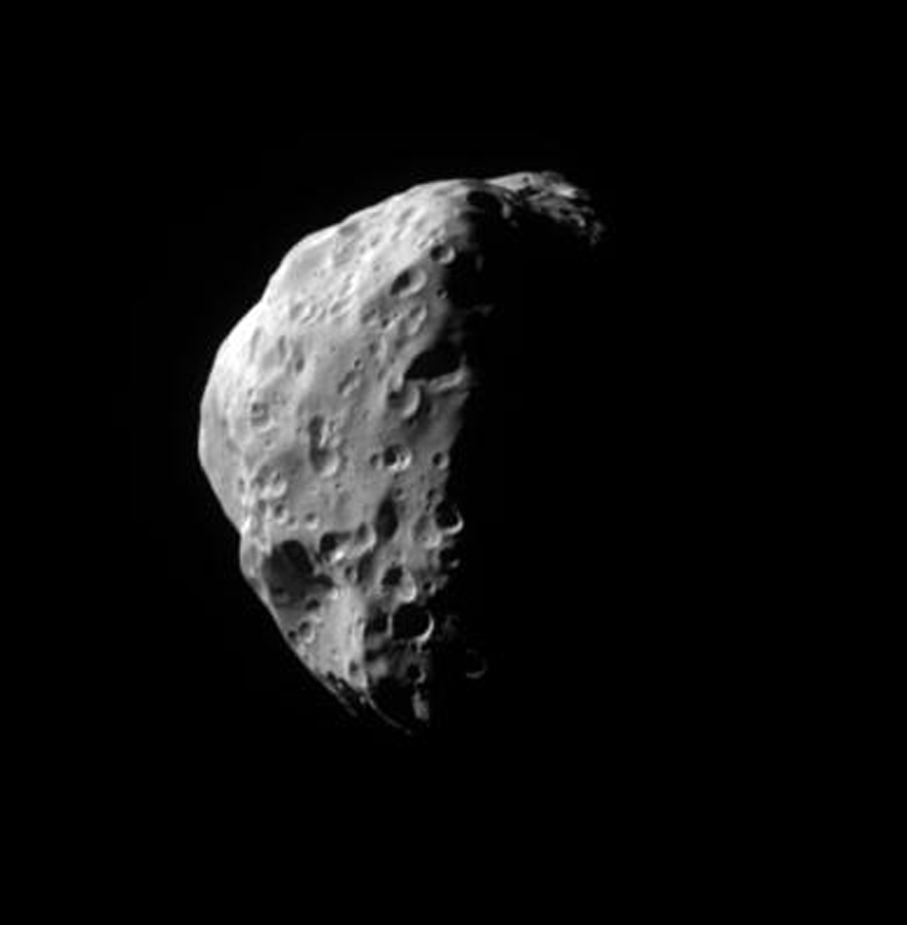 From 34 degrees above Saturn's equatorial plane, NASA's Cassini spacecraft gazed down at Saturn's moon Epimetheus.