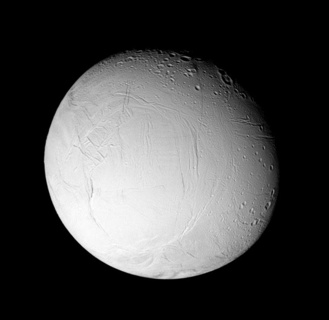 This image from NASA's Cassini spacecraft shows wrinkles and cracks have reworked the surface of Saturn's moon Enceladus, perhaps due to the influence of tidal stresses.