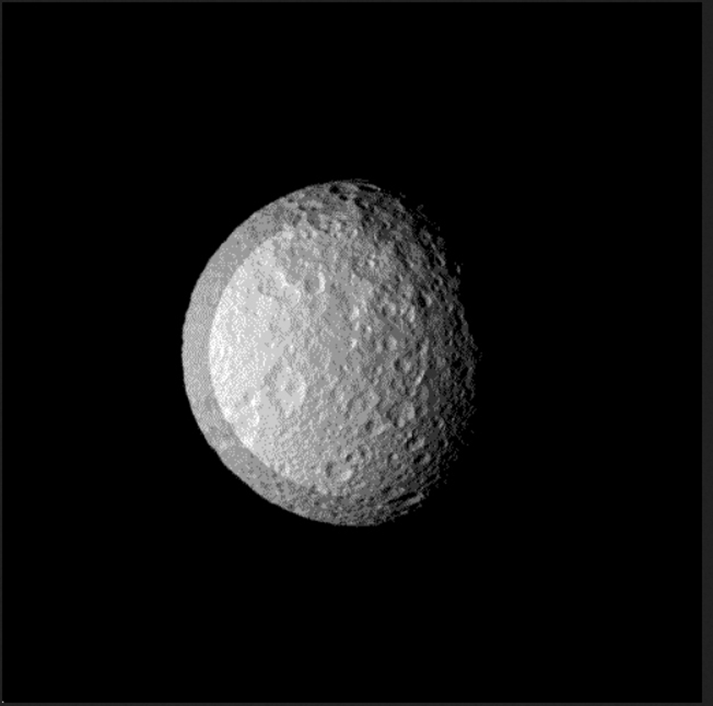 Space Images   Flying Over Mimas