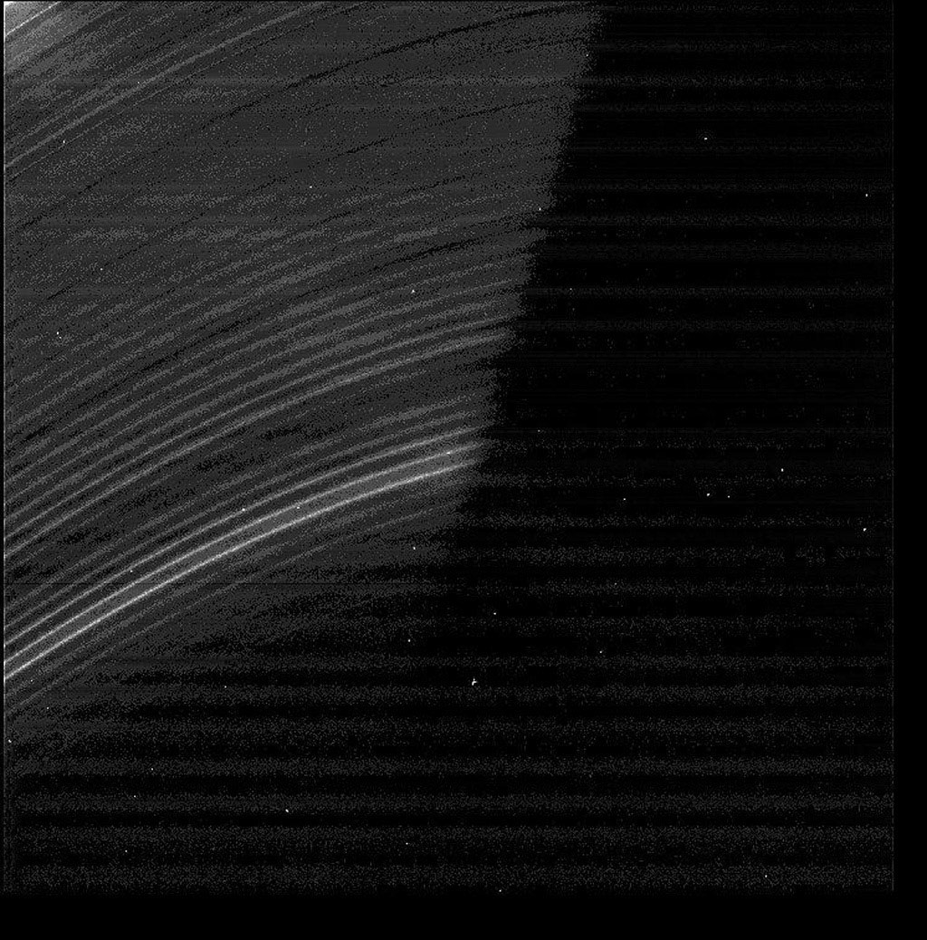This view is part of a montage of images from NASA's Cassini and Voyager missions. This image shows the region between the D ring feature named D73 and the inner edge of the C-ring.