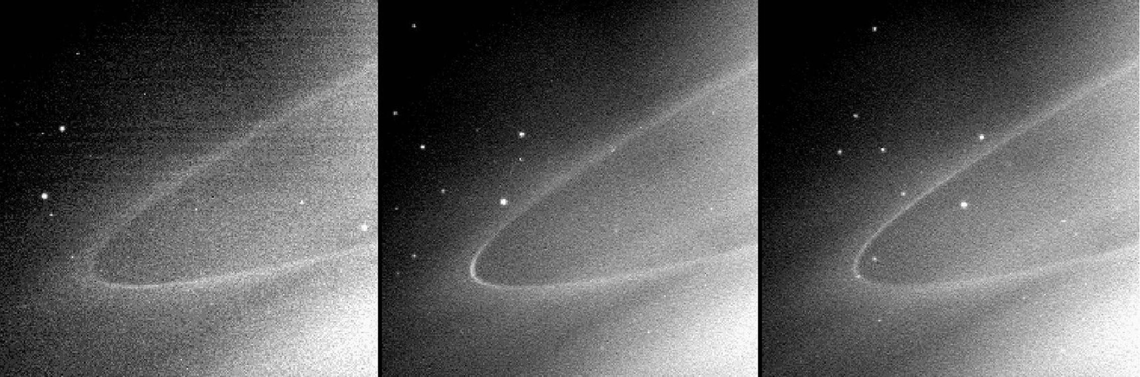 This sequence of images from NASA's Cassini spacecraft shows a faint arc of material in Saturn's G ring, a tenuous ring outside the main ring system. These images were each taken about 45 minutes apart.