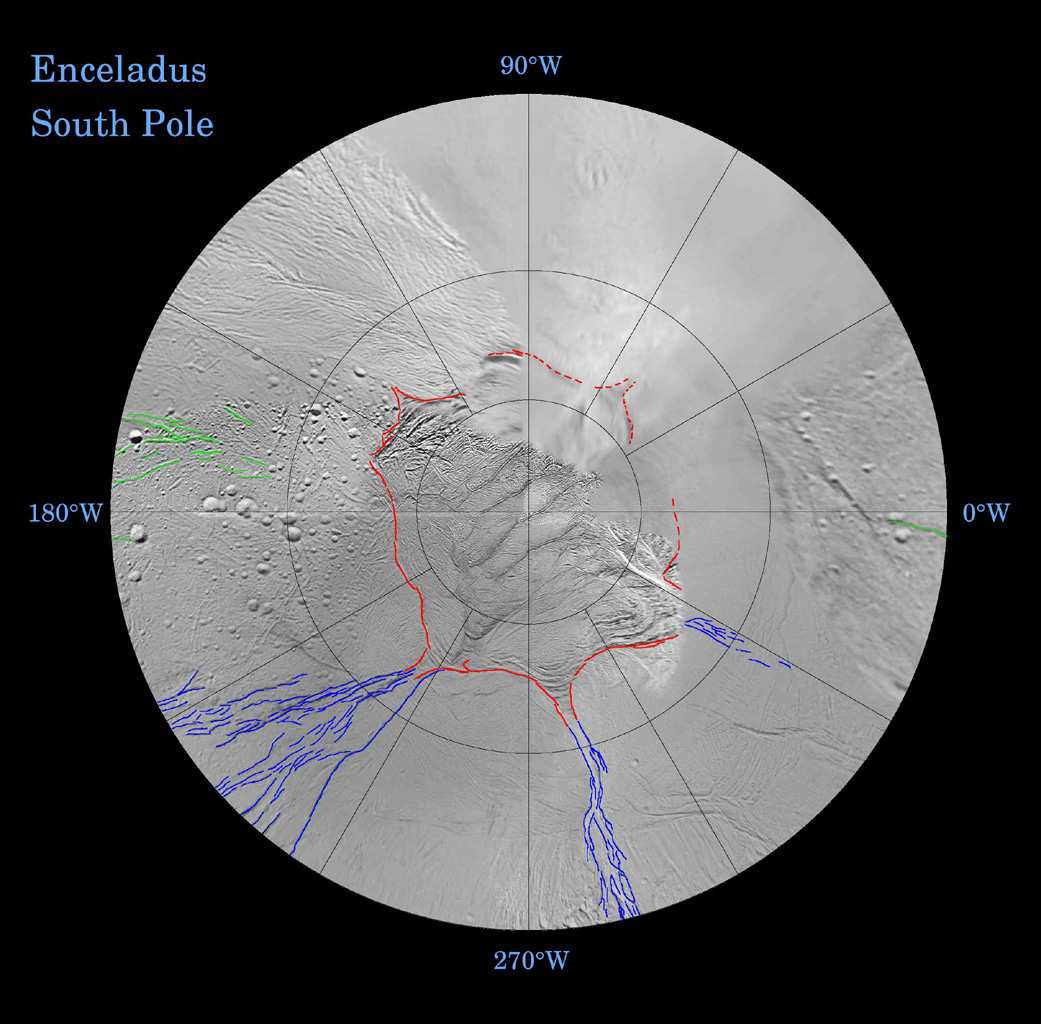 Fractures on the surface of Enceladus record a long and complex history of tectonic activity. This map is a polar stereographic projection that was mosaicked from the best-available NASA Cassini and Voyager clear-filter images.