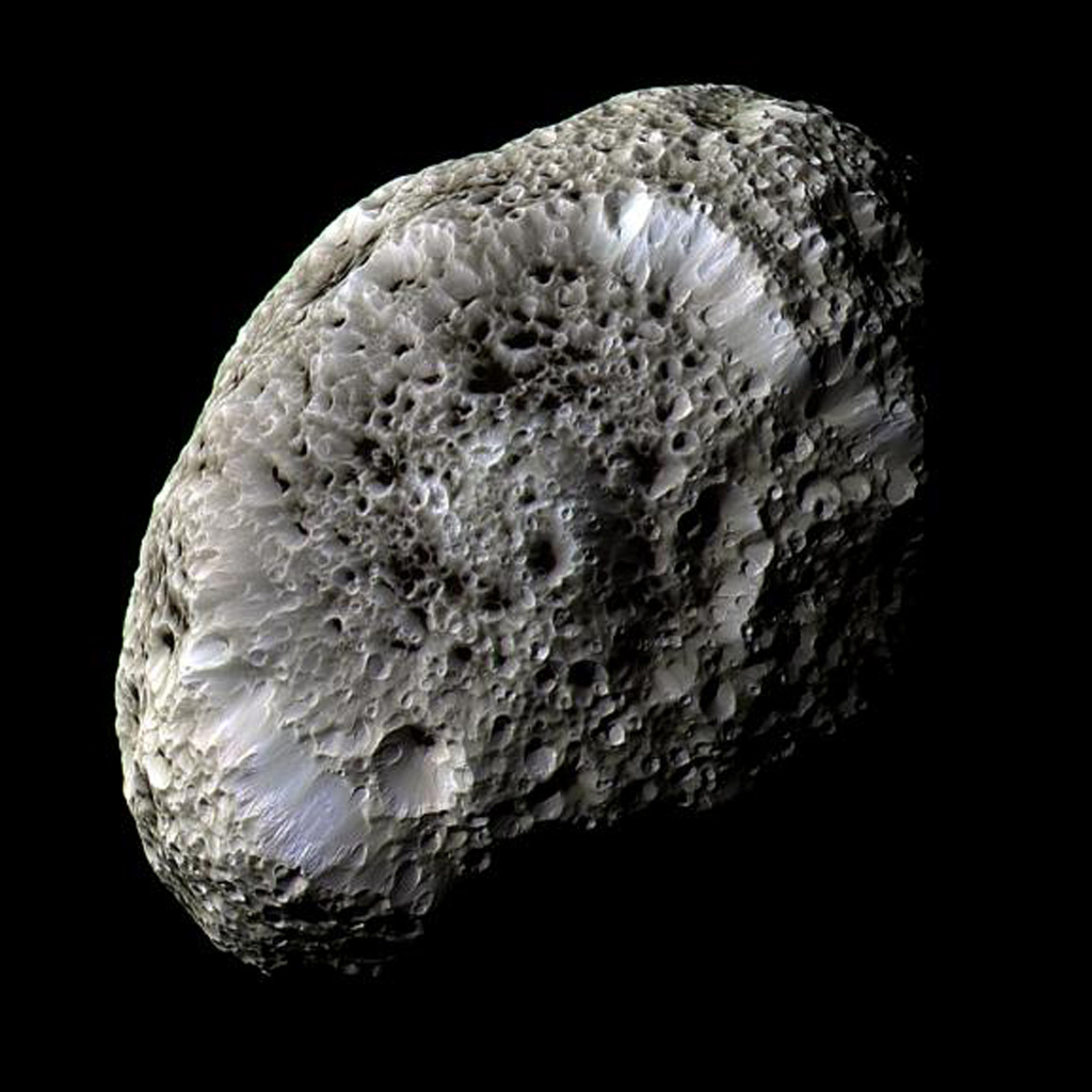 This stunning false-color view of Saturn's moon Hyperion reveals crisp details across the strange, tumbling moon's surface. The view was obtained during NASA's Cassini close flyby on Sept. 26, 2005.