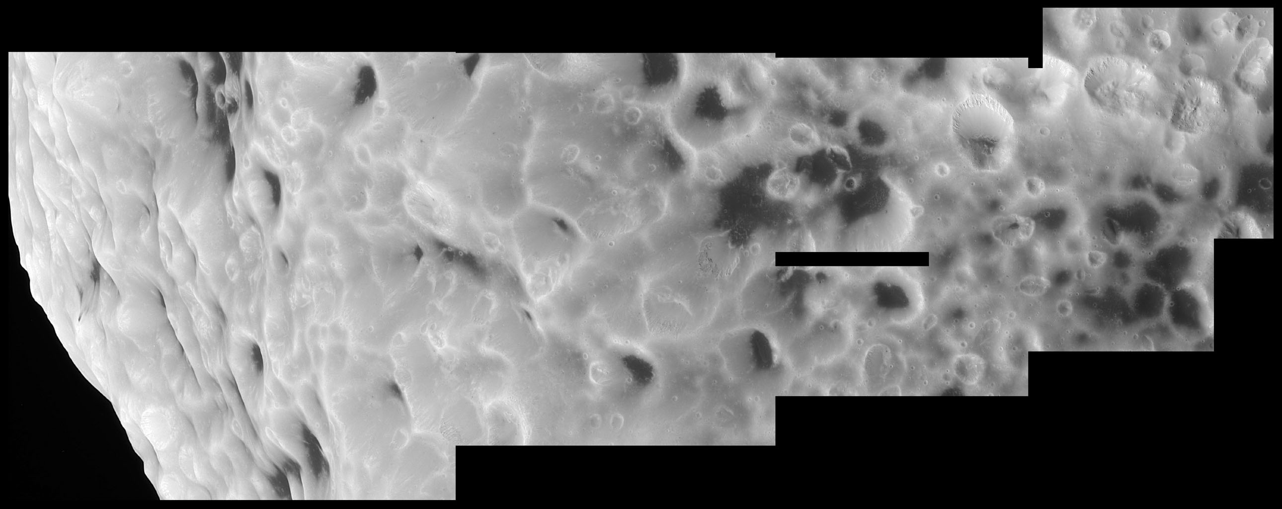 This high-resolution mosaic from NASA's Cassini spacecraft shows that Hyperion truly has a surface different from any other in the Saturn system. The images were taken during Cassini's close flyby of Hyperion on Sept. 26, 2005.