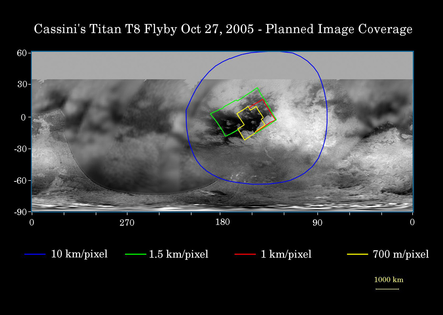 This map of Titan's surface illustrates the regions that will be viewed by the imaging cameras onboard NASA's Cassini spacecraft during the spacecraft's close flyby of Titan on Oct. 28, 2005.