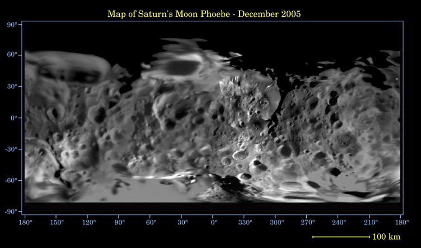 This global digital map of Saturn's moon Phoebe was created using data taken during NASA's Cassini spacecraft's close flyby of the small moon in June 2004. The map is an equidistant projection and has a scale of 233 meters (764 feet) per pixel.