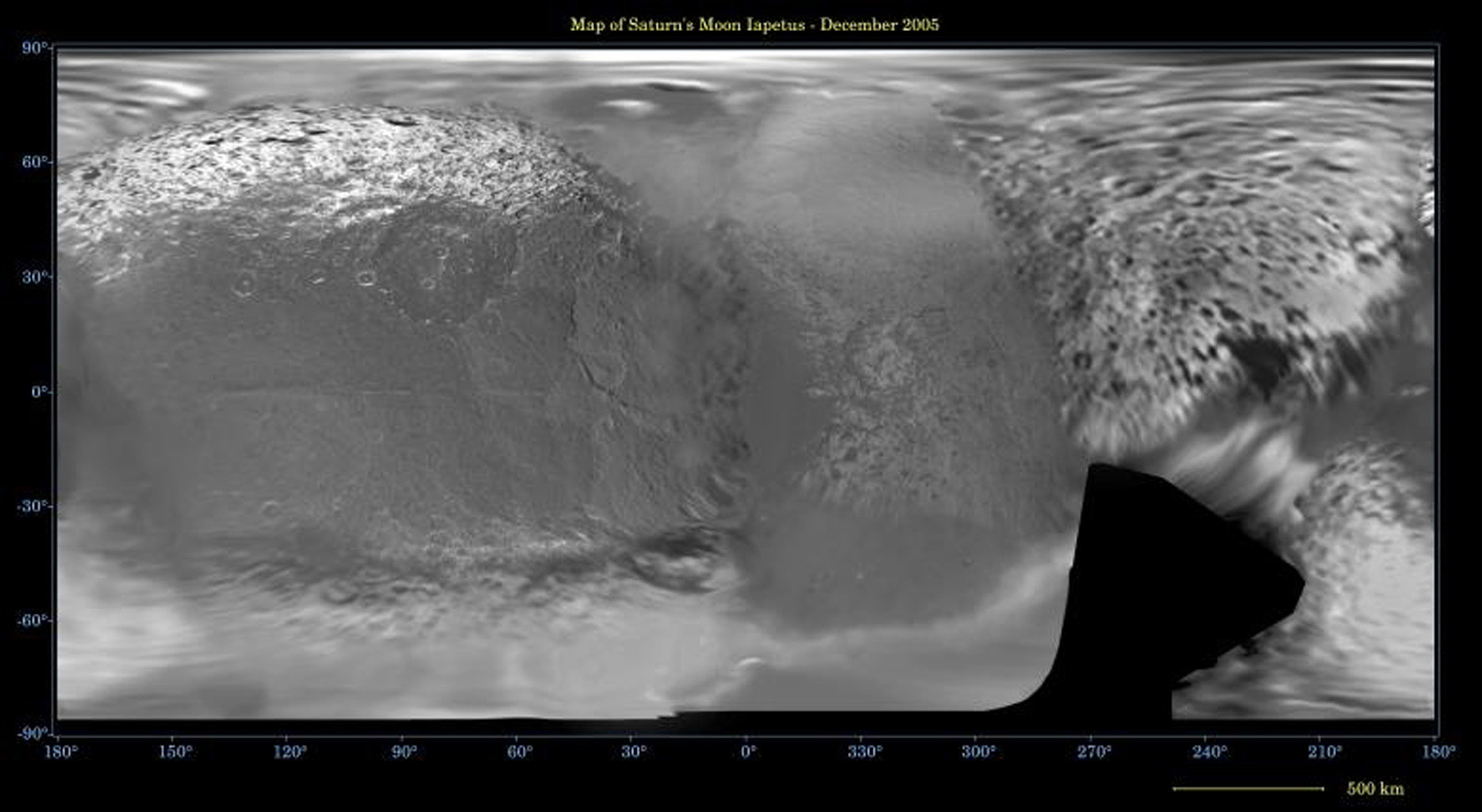 This global digital map of Saturn's moon Iapetus was created using data taken during NASA's Cassini and Voyager spacecraft flybys. The map is an equidistant projection and has a scale of 641 meters (2,103 feet) per pixel.