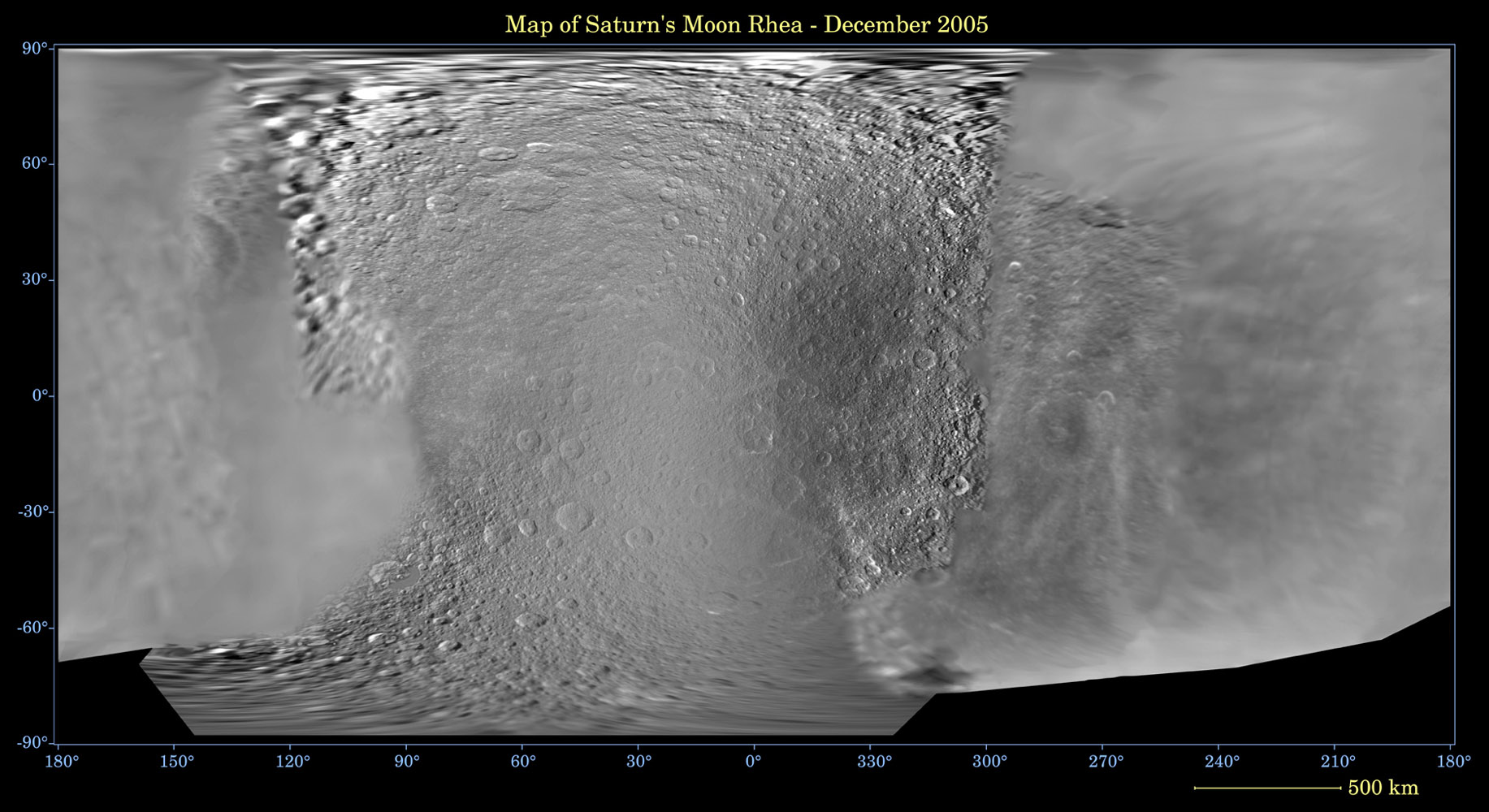 This global digital map of Saturn's moon Rhea was created using data taken during NASA's Cassini and Voyager spacecraft flybys. The map is an equidistant projection and has a scale of 667 meters (2,188 feet) per pixel.