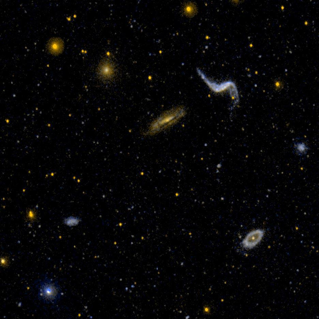 This ultraviolet image from NASA's Galaxy Evolution Explorer is of a diverse group of galaxy types. NGC 3190 is a dusty edge on spiral galaxy. NGC 3187 is highly distorted.